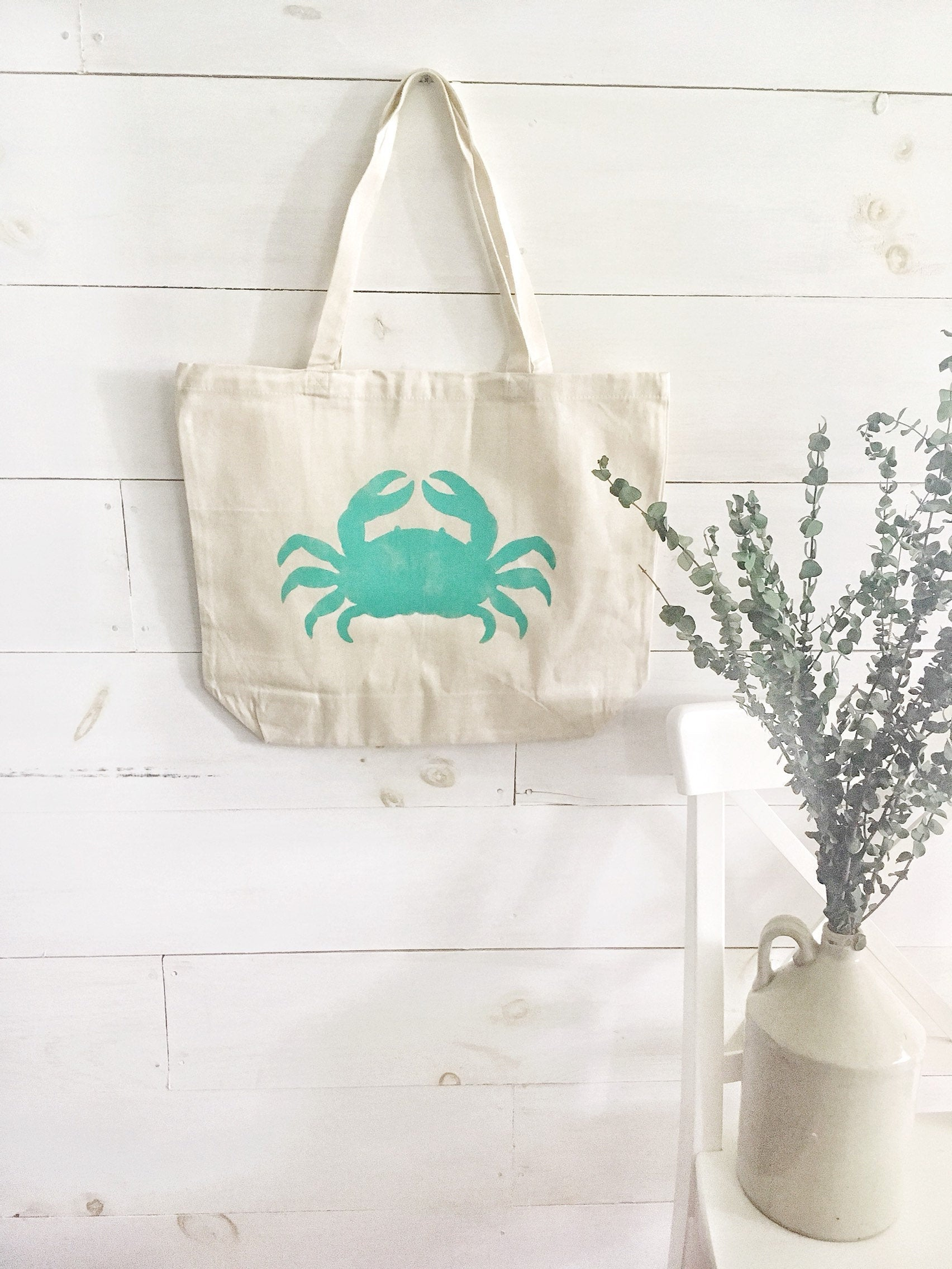 CRAB over sized canvas tote
