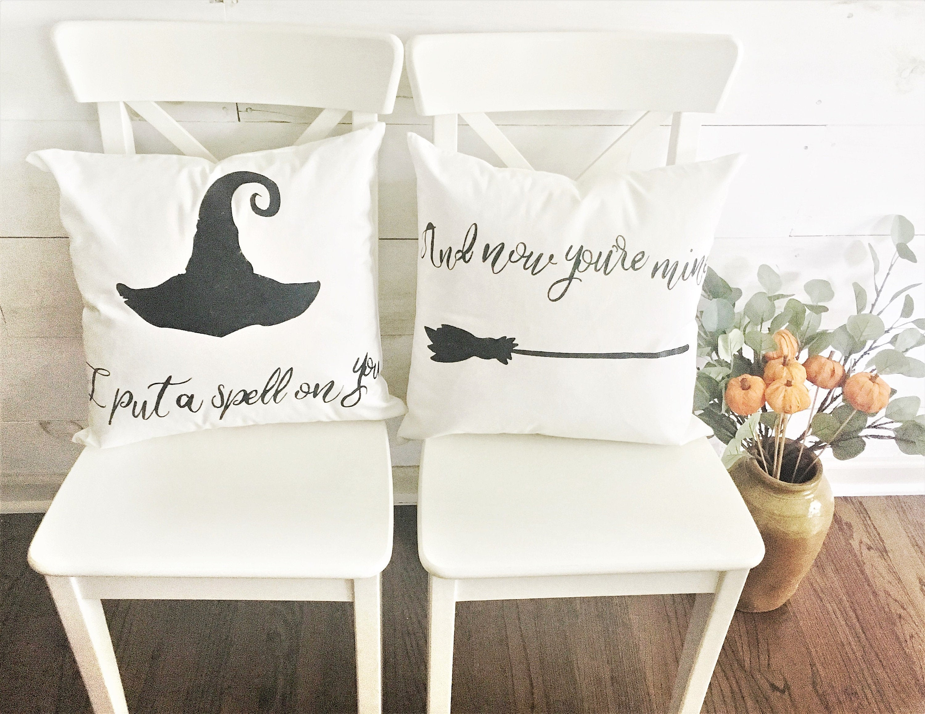 I Put A Spell On You, And Now You're Mine! Pair of hand painted throw pillow covers