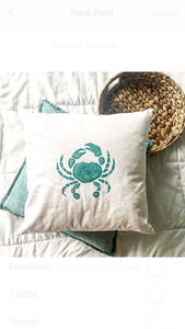 Multi colored turquoise crab pillow cover | coastal pillow | crab | pillow cover | throw pillow cover | nautical decor | beachy pillow