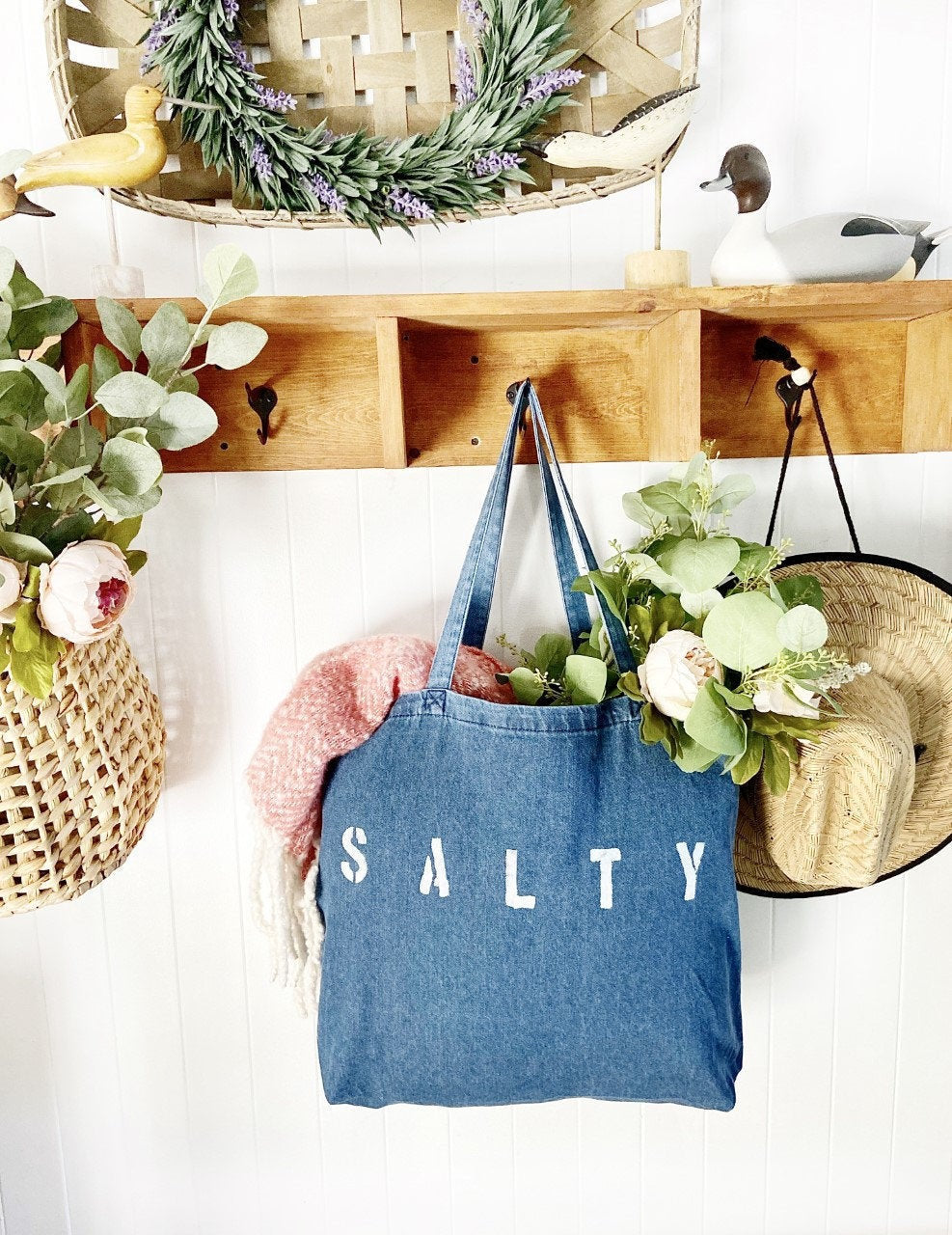 Denim SALTY over sized tote