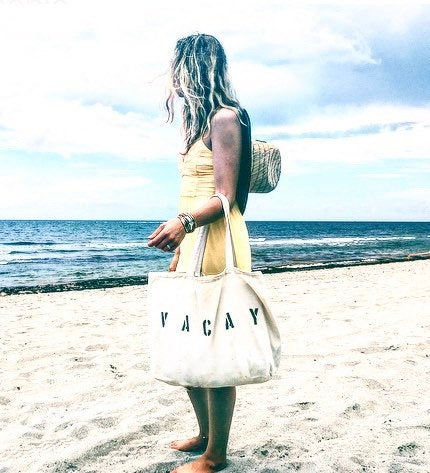 VACAY over sized canvas tote