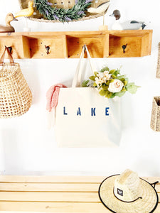 LAKE over sized canvas tote