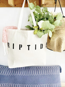 RIPTIDE over sized canvas tote
