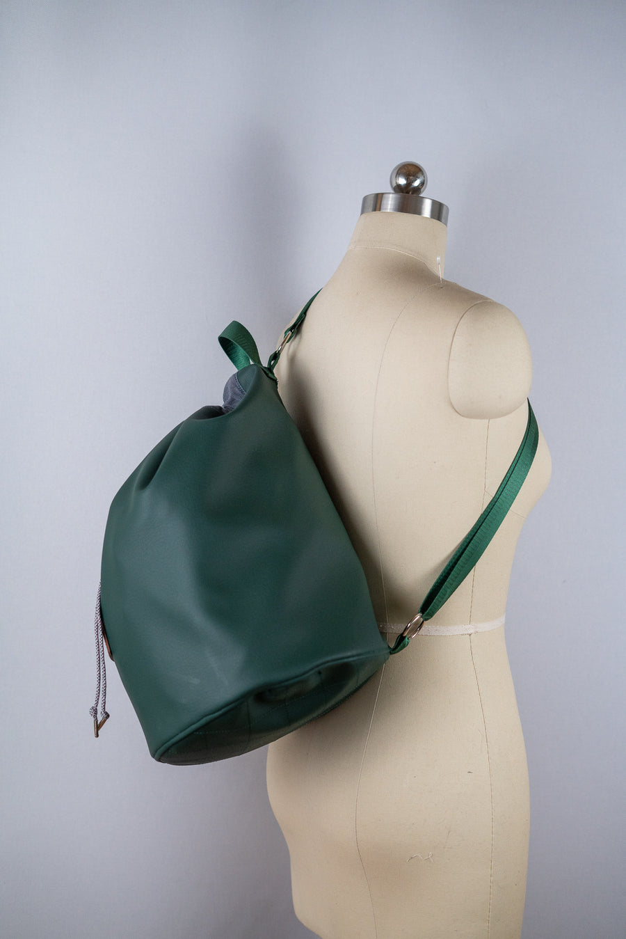 Hunter Green Faux Leather Drawstring Duffel Shoulder Bag