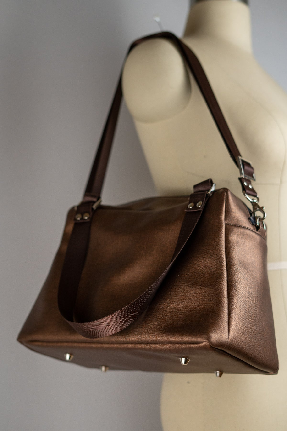 Copper Brown Faux Leather Quinn Handbag
