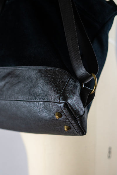 Black Conversion Backpack with Leather Bottom