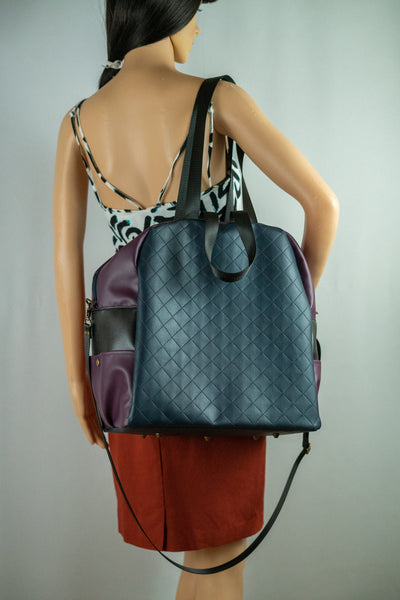 Overnight Bag in Navy and Plum