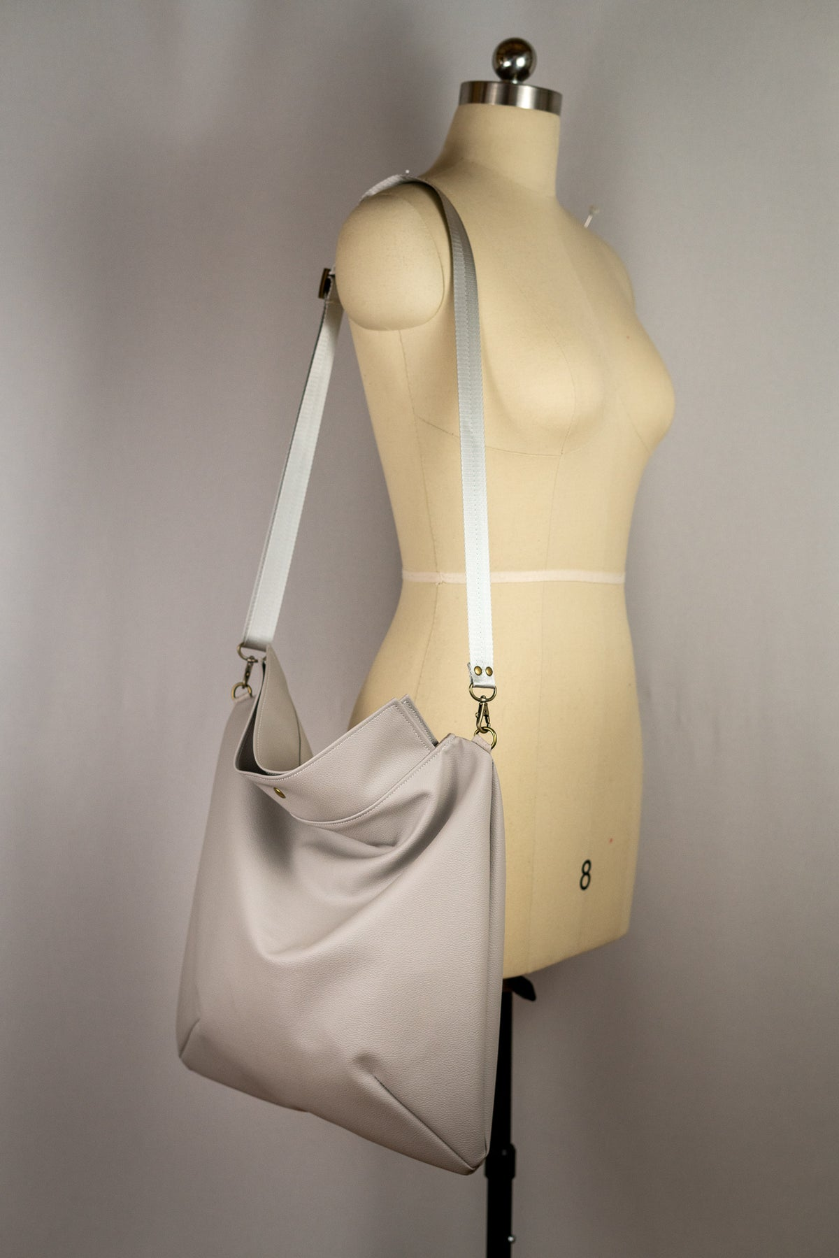 Silver Grey Faux Leather Mia Satchel