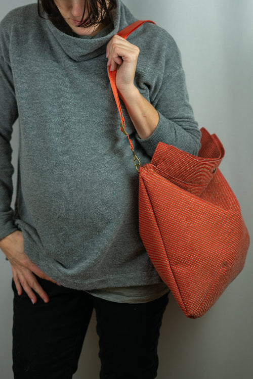 Tomato Red Waffle Textured Large Mia Satchel