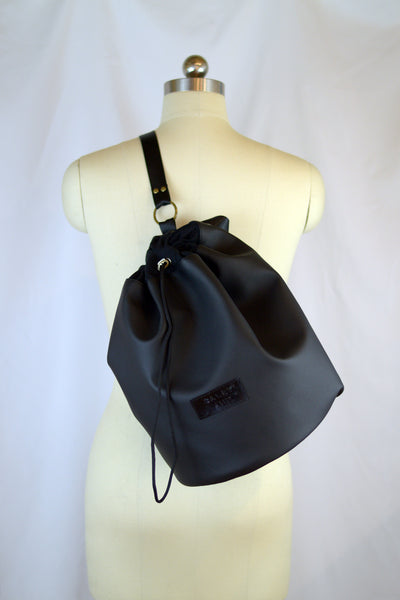Black Faux Leather Drawstring Bucket Backpack