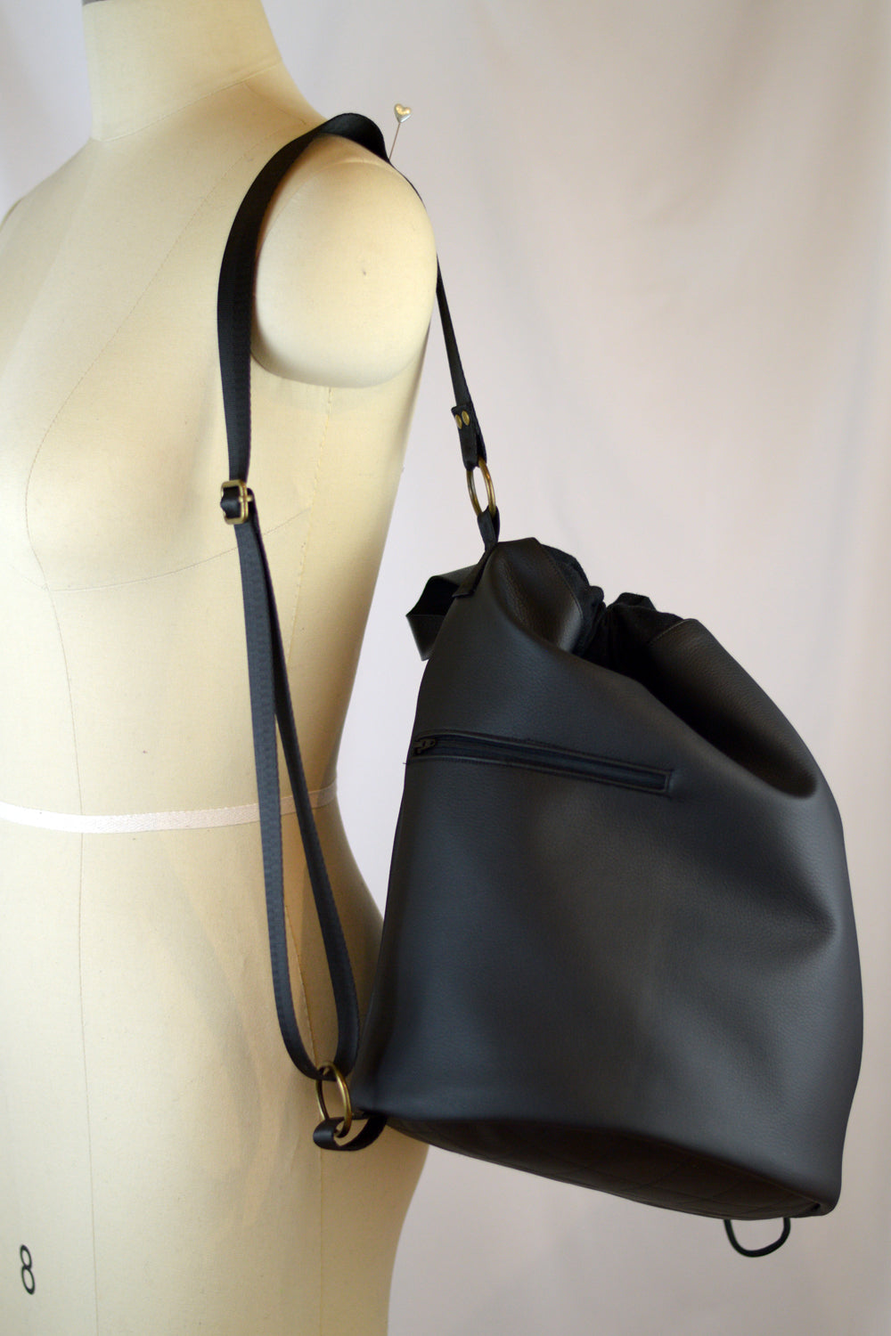 Black Faux Leather | SS 2019 Drawstring Bucket Bag | READY TO SHIP