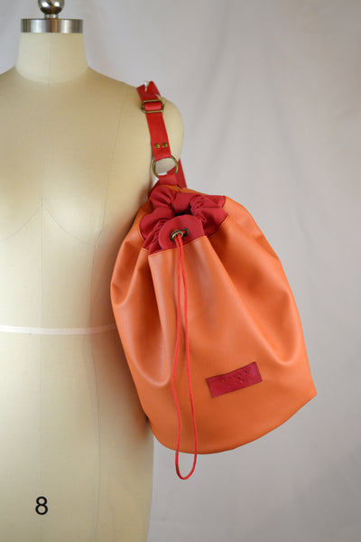 Tangerine Faux Leather | SS 2019 Drawstring Bucket Bag | READY TO SHIP