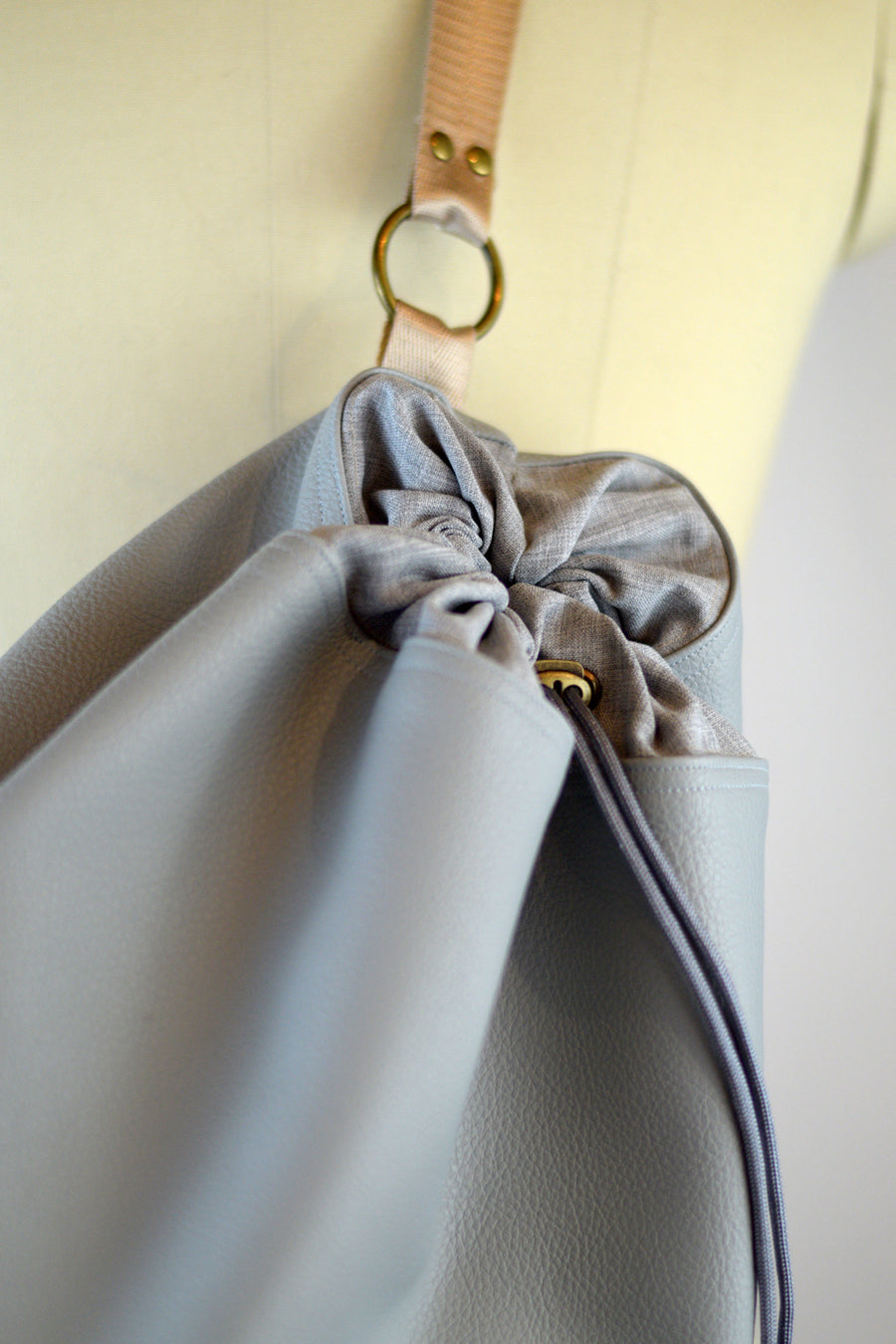 Nude Taupe Faux Leather Drawstring Duffel Bag