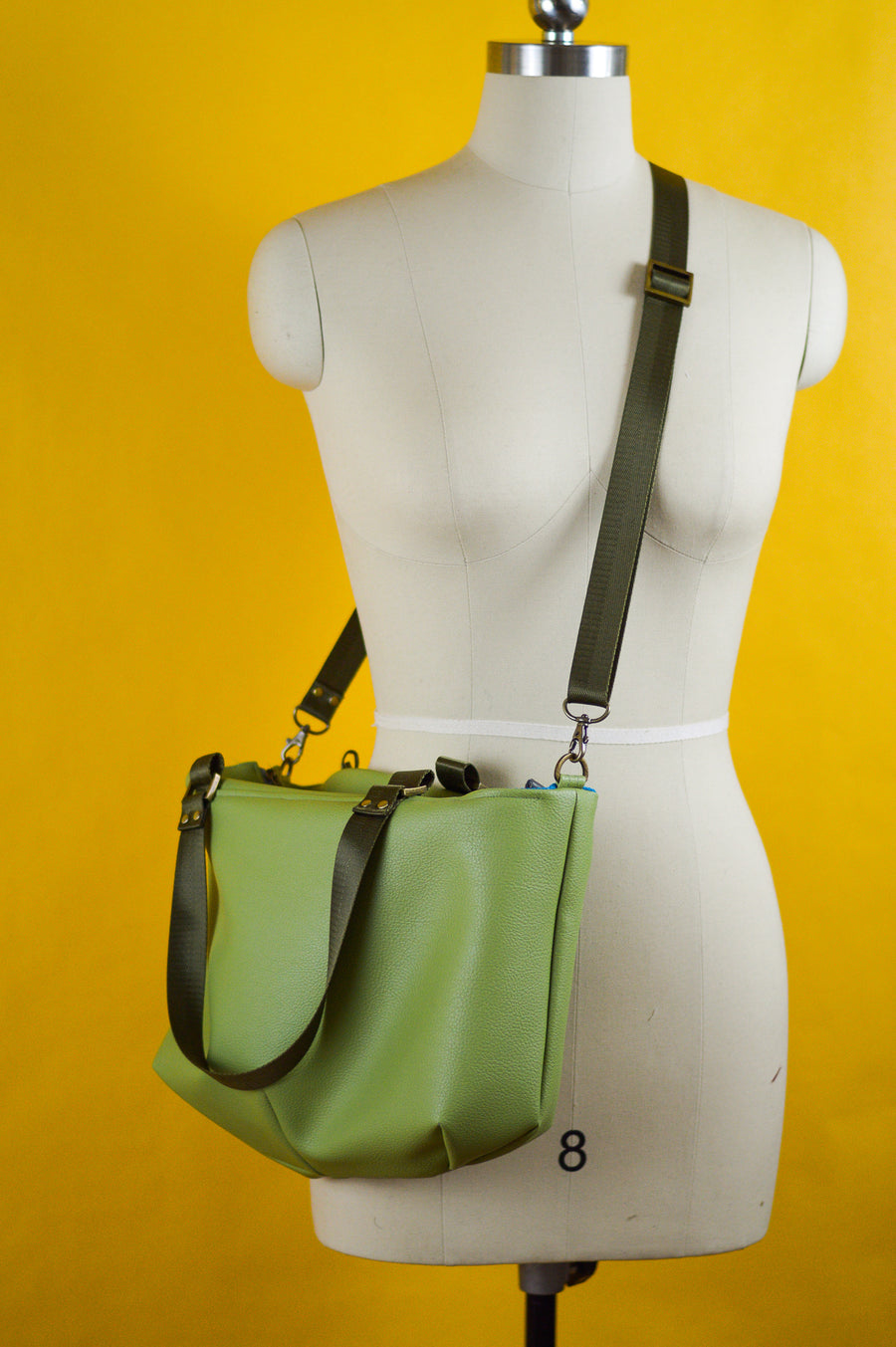 Amelia Handbag - Apple Green Faux Leather