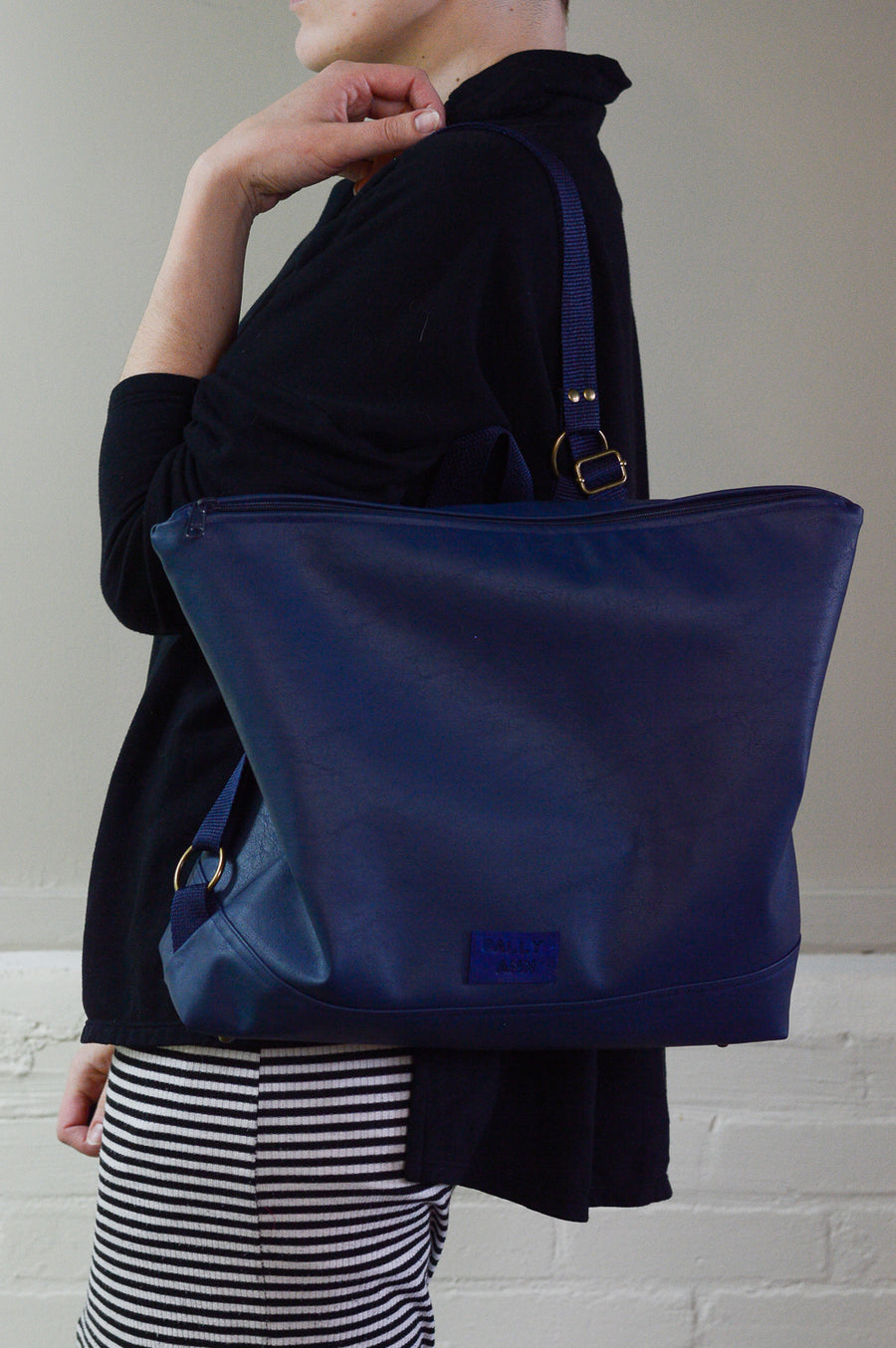Navy Blue Faux Leather Conversion Backpack
