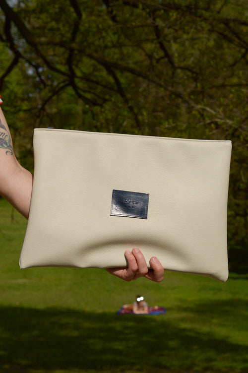 White Faux Leather Oversized Clutch / Laptop Sleeve / Macbook Sleeve / Large Clutch