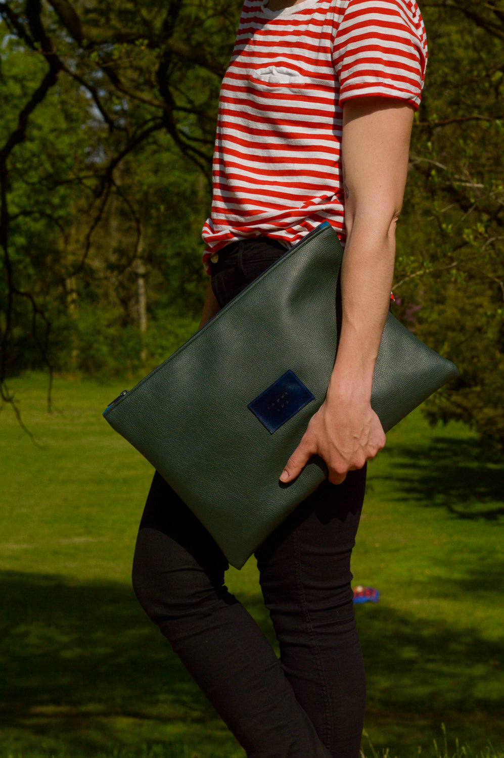 Dark Green Oversized Clutch | Laptop Sleeve | Large Clutch | Ready To Ship