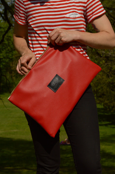 Red Oversized Clutch | Laptop Sleeve | Large Clutch | Ready To Ship