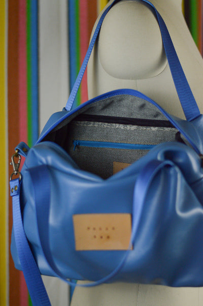 Azure Blue Faux Leather Sustainable Handbag | Quinn Handbag