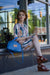 Quinn Handbag | Azure Blue Faux Leather Sustainable Handbag