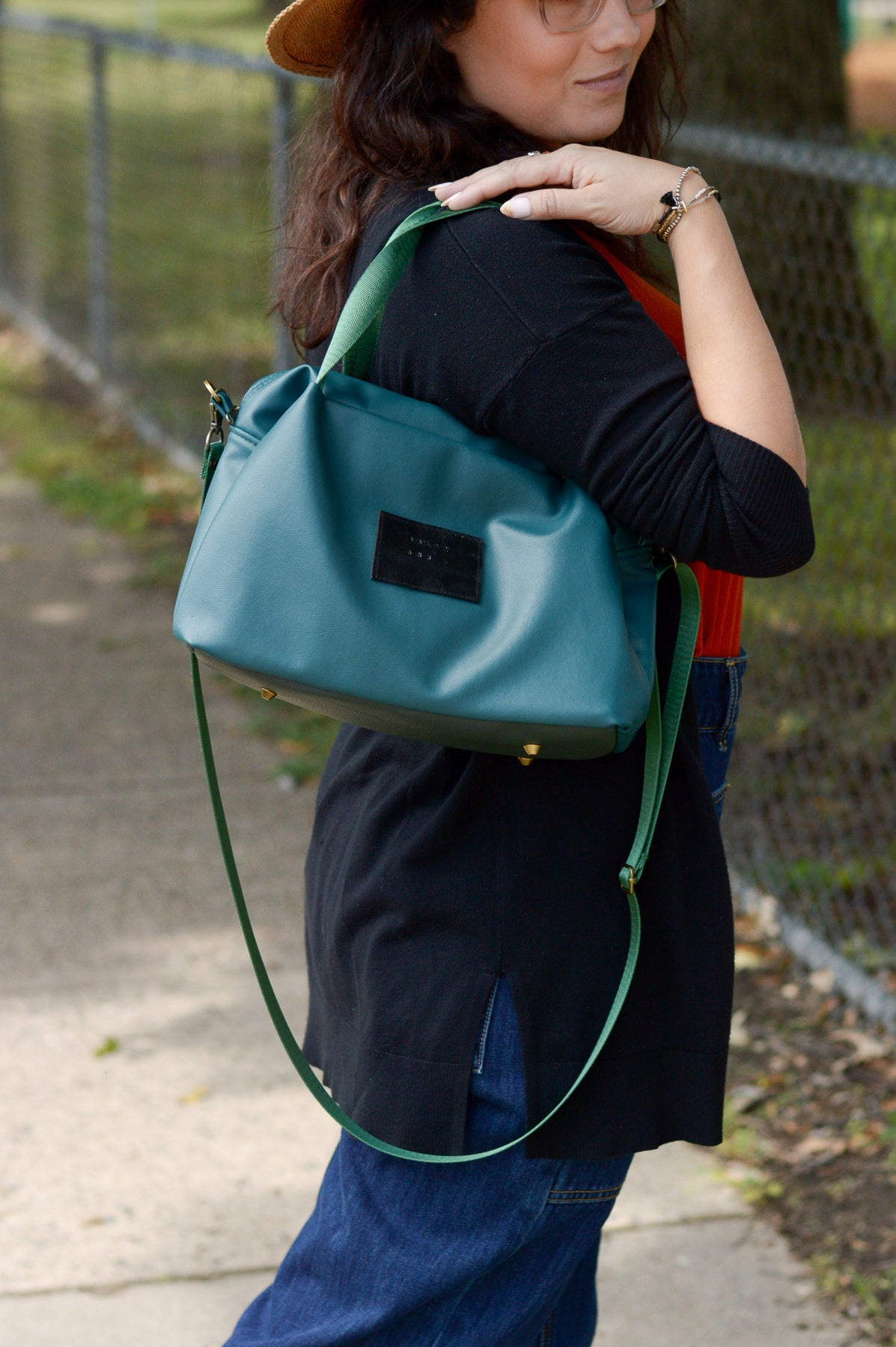 Quinn Handbag | Sustainable Zero Waste Handbag | Custom Faux Leather Exterior