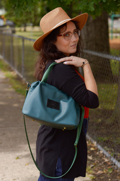 Quinn Handbag | Basil Green Faux Leather Sustainable Bag