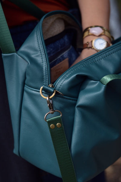Basil Green Faux Leather Sustainable Bag | Quinn Handbag