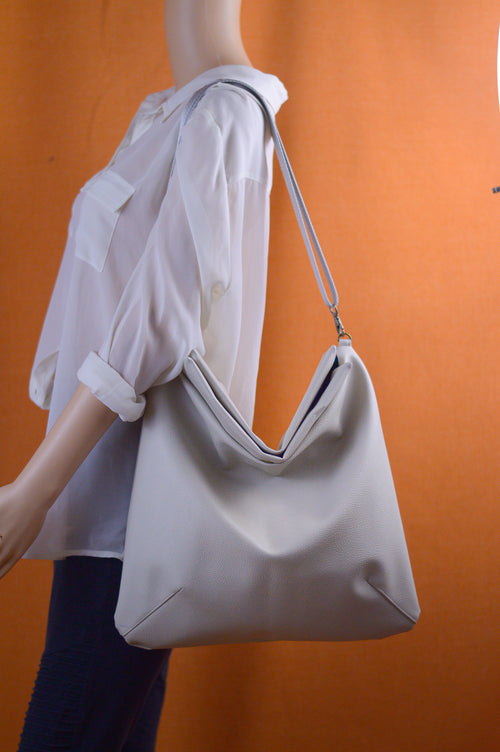 White Faux Leather Slouchy Satchel