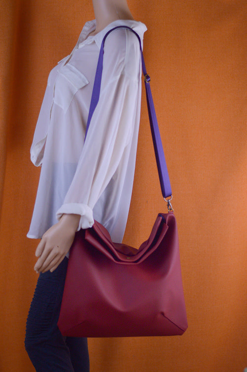 Merlot Faux Leather Satchel