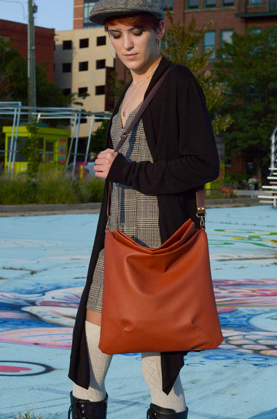 Golden Brown Faux Leather Sustainable Satchel | Carry All Bag