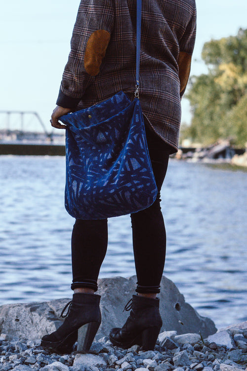 Royal Blue Velour Sustainable Satchel | Carry All Bag