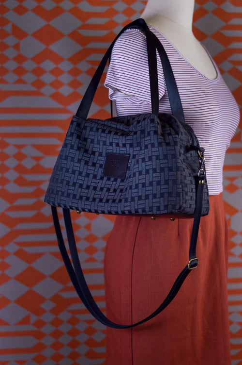 Black Geo Sustainable Fabric Handbag | Quinn Handbag