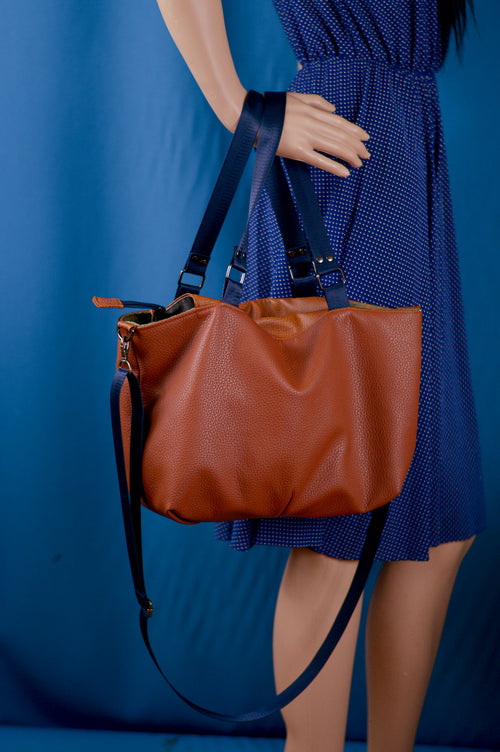 Amelia Handbag - Saddle Brown Faux Leather