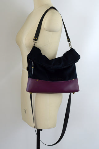 FW 2019 Deluxe Handbag | Black velour and Plum Faux Leather | READY TO SHIP