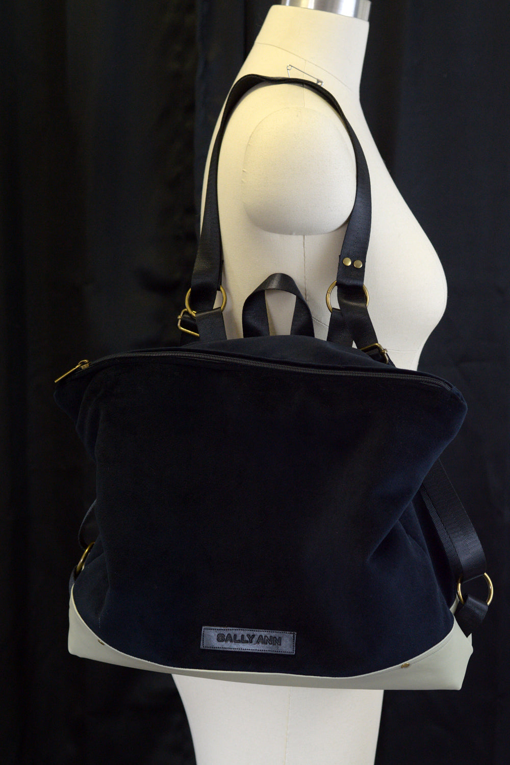 Black Backpack with Custom Color Faux Leather Bottom