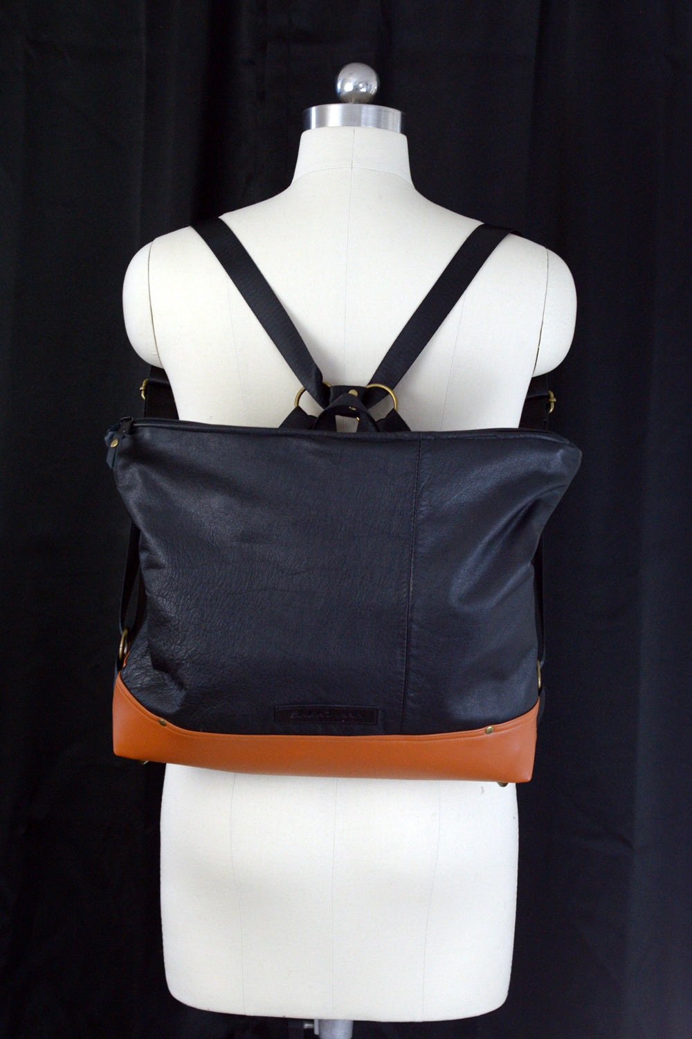 Black Leather Backpack Handbag - Made to Order