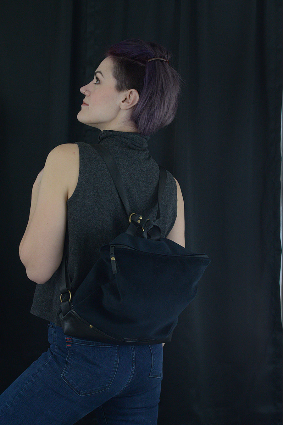 Black Velour Conversion Backpack and Handbag | Our Signature Bag