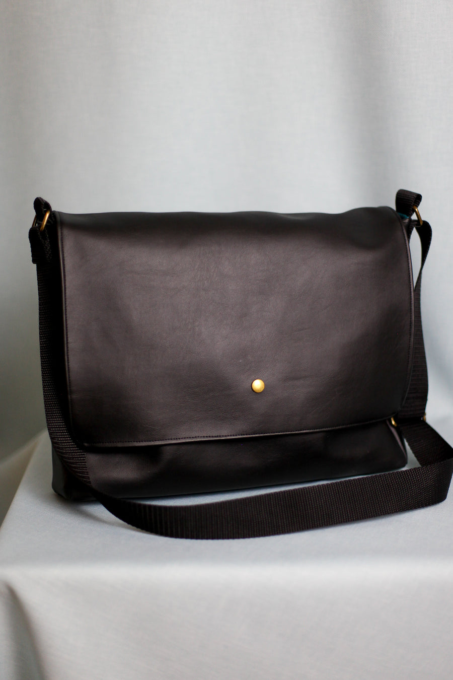 Padded Laptop Messenger Bag - Black Faux Leather