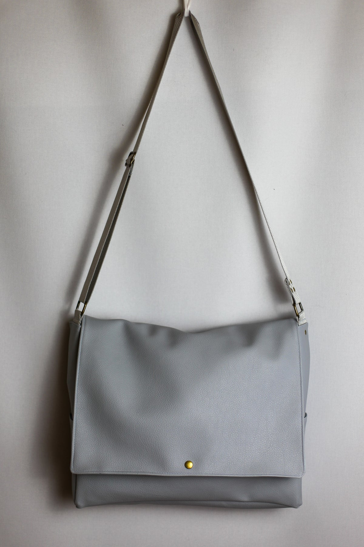 Padded Laptop Messenger Bag - Grey Faux Leather