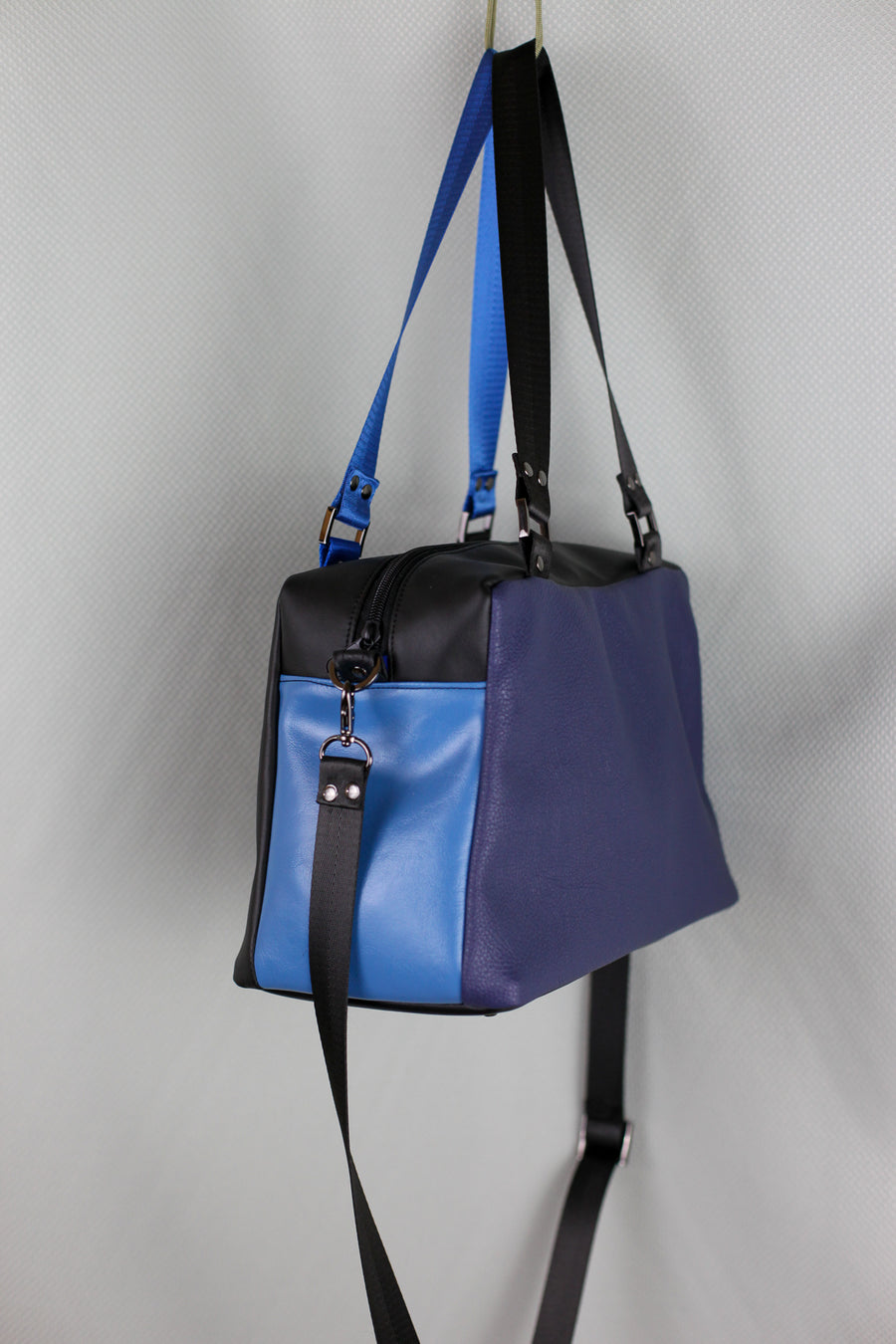 Black on Blue Faux Leather Quinn Handbag