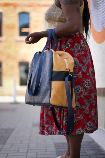 Overnight Bag in Navy Blue, Gold, and Black Handbag