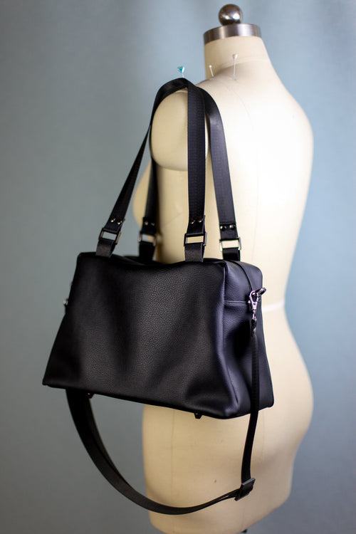 Black Faux Leather Quinn Handbag