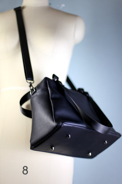 Quinn Handbag | Black Faux Leather Handbag
