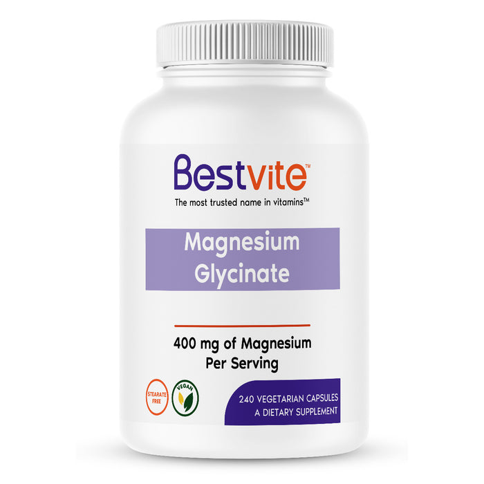Magnesium Glycinate 400mg per Serving (240 Vegetarian Capsules)