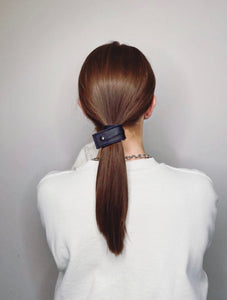 Oversized Vegan Leather Hair Strap in Black