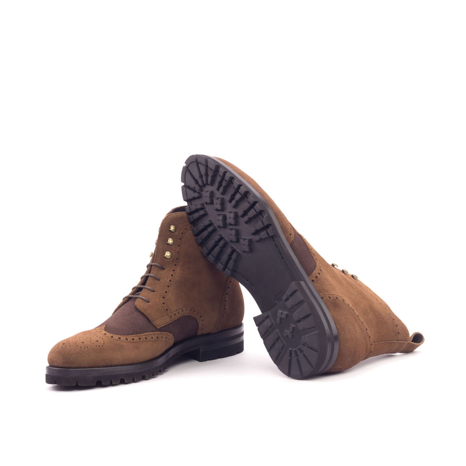 Med brown lux suede + brown kid suede