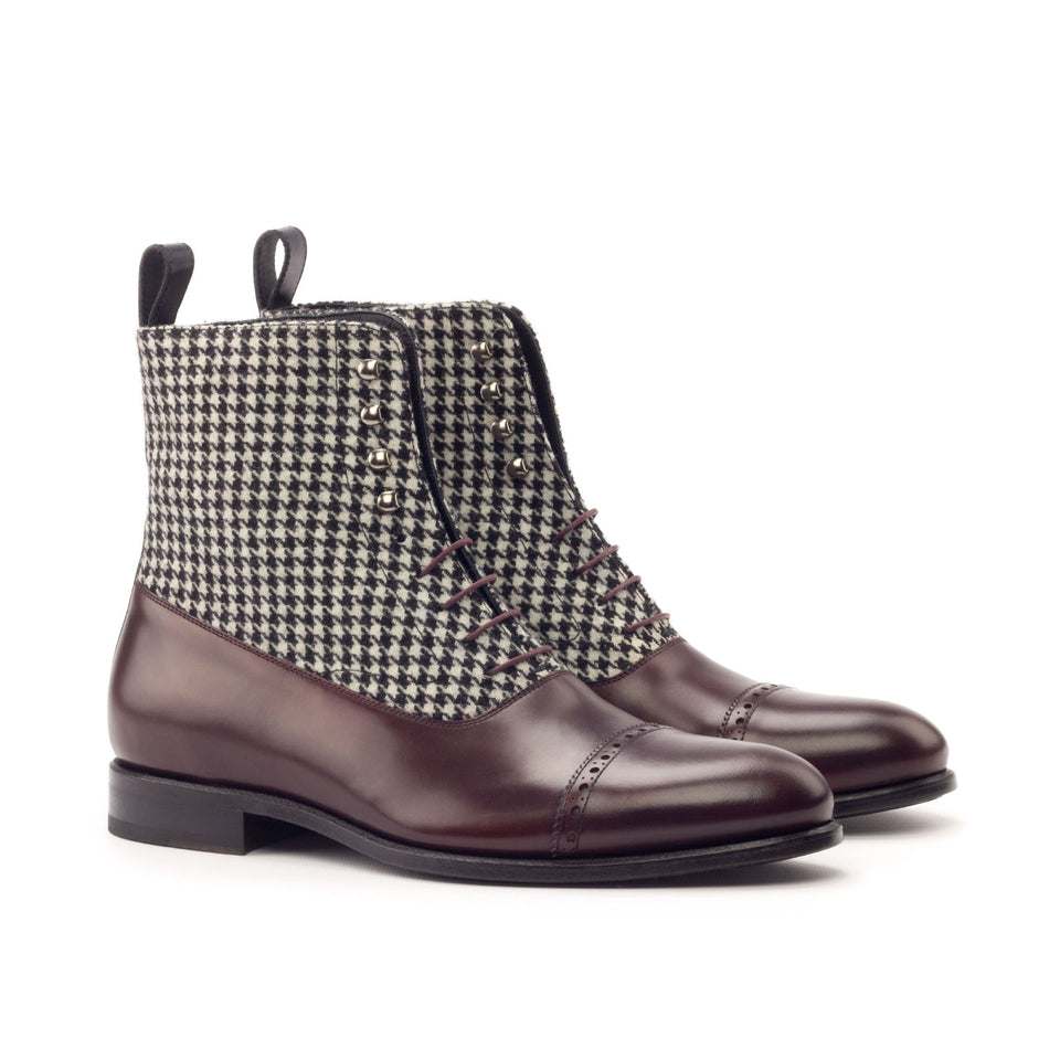 Houndstooth sartorial & burgundy polished calf & black polished calf