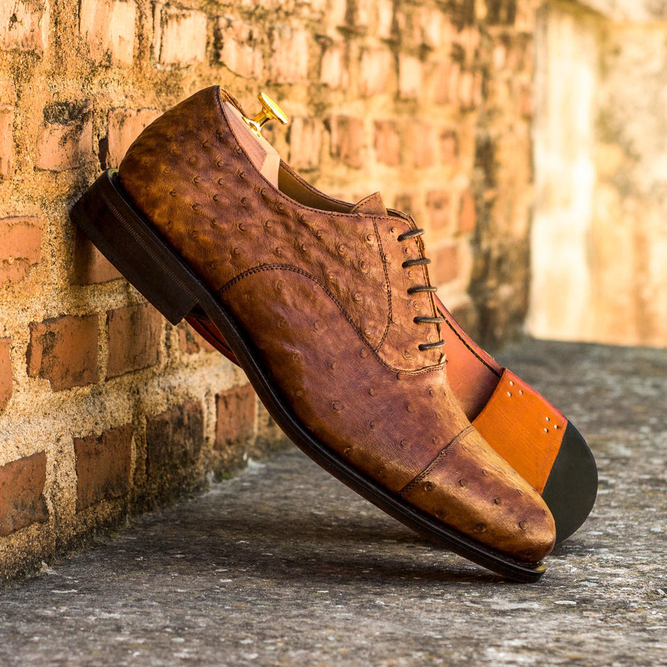 Medium Brown Exotic Ostrich CUSTOM Luxury Handmade Shoes for Men