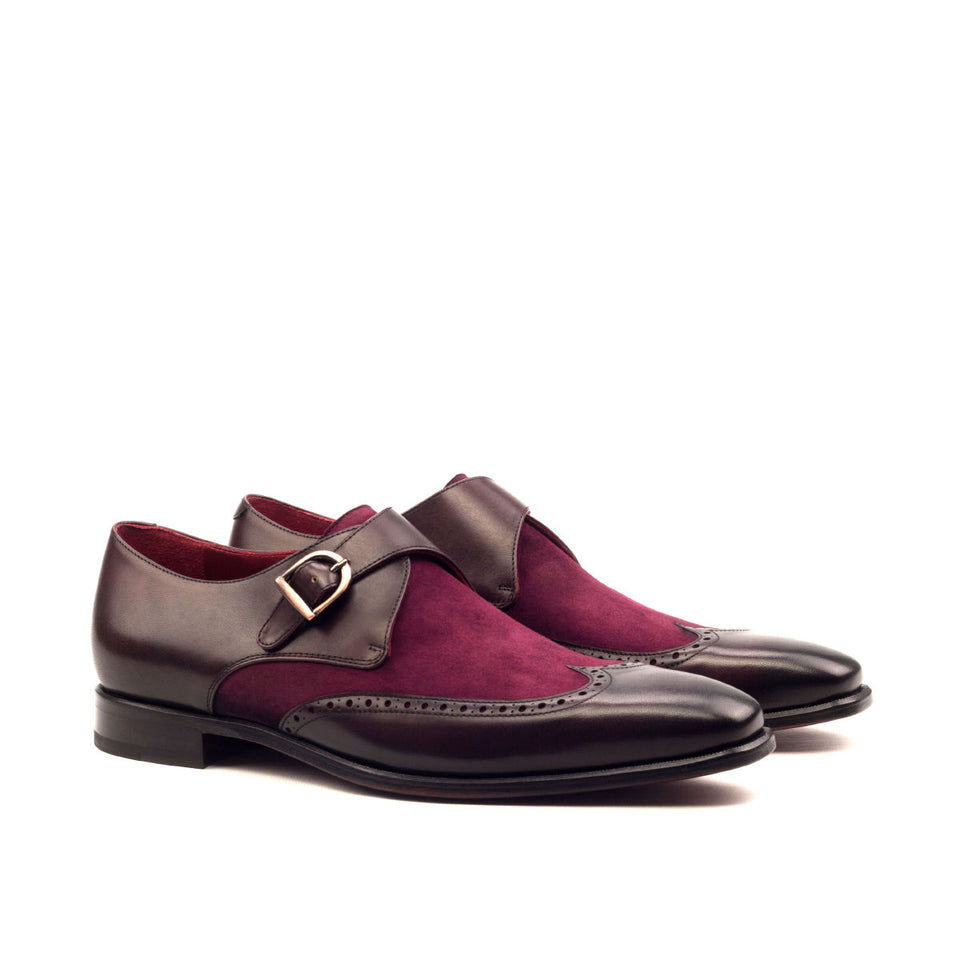 Wine kid suede & burgundy painted calf