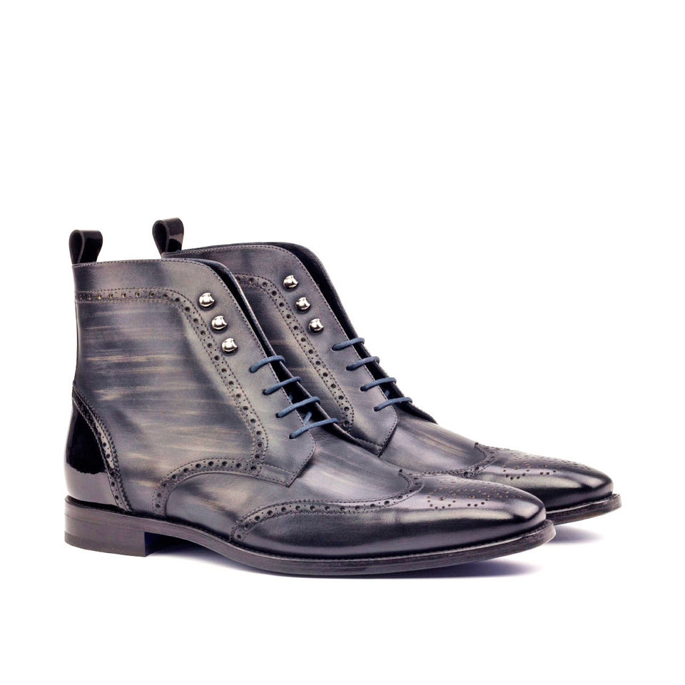 Black patent + grey crust patina